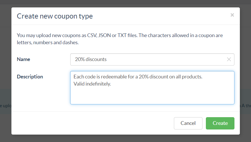 Coupon type