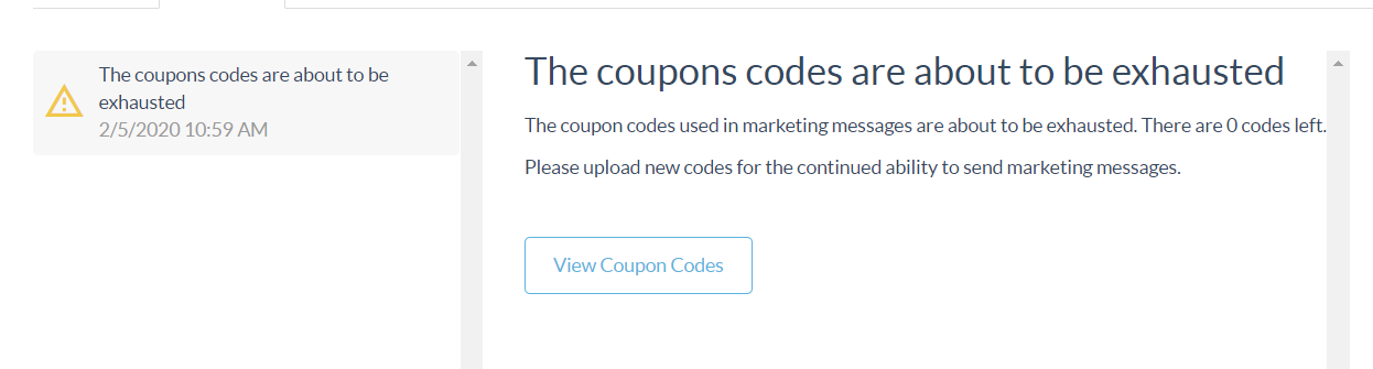 Coupon alert message
